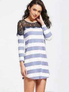 Stripes Lace Panel Casual Tee Dress - Purple M