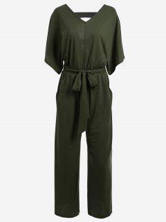 Batwing V Neck Cut Out Jumpsuit - Army Green L