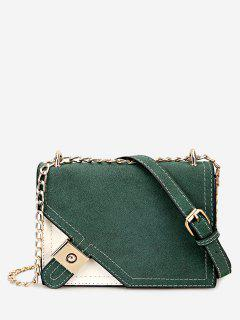 Metal Embellished Chain Color Block Crossbody Bag - Green