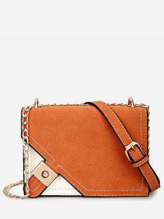 Metal Embellished Chain Color Block Crossbody Bag - Orange