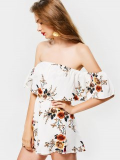 Superposer Floral Off Shoulder Romper - Blanc L