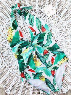 Maillot De Bain à Flèches Imprimé Leaf Print Twist - Vert S
