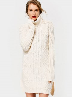 Side Slit Cable Knit Turtleneck Sweater - Off-white