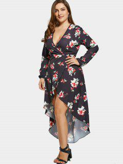 Floral High Low Plus Size Surplice Maxi Dress - Black 3xl