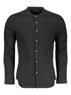 Stand Collar Button Up Shirt - Black 3xl
