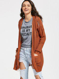 Open Front Distressed Cardigan With Pockets - Light Coffee