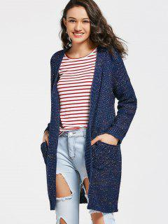 Heathered Open Front Cardigan With Pockets - Purplish Blue