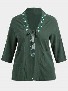 Kimono Bordado Con Flores De Mayor Tamaño - Verde Oscuro 3xl