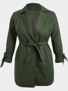 Plus Size Wrap Coat - Army Green 2xl