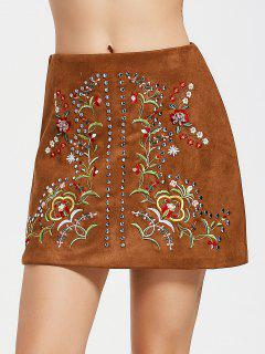 Faux Suede Beaded Floral Embroidered Mini Skirt - Coffee S