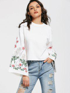 Flare Sleeve Floral Embroidered Sweatshirt - White S
