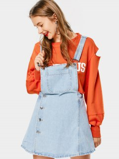 Button Up Denim Mini Pinafore Dress - Denim Blue L