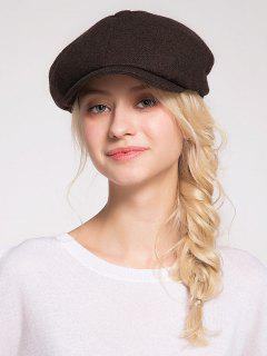 Woolen Blending Narrow Brim Beret Hat - Coffee
