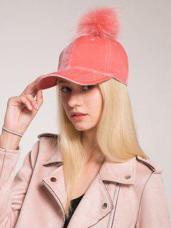Pompon Ball Embellished Velvet Baseball Hat - Pink