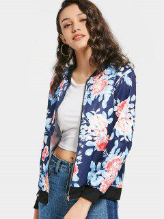 Zip Up Floral Pilot Jacket - Purplish Blue M