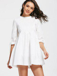 Bow Tied Lace Panel Ruffles Mini Dress - White M