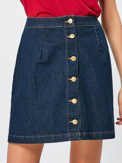 Denim Buttons A Line Skirt - Blue L