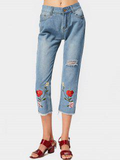 Floral Embroidered Frayed Hem Ripped Jeans - Light Blue Xl