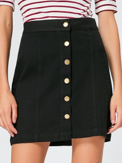Button Fly High Waisted Mini Skirt - Black S