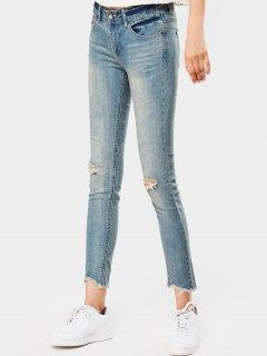 Distressed Fringed Pencil Jeans - Denim Blue 26