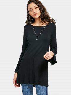 Flare Sleeve Cut Out Bowknot Top - Black Xl