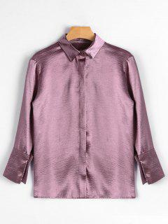 Flower Embroidered Satin Shirt - Deep Pink