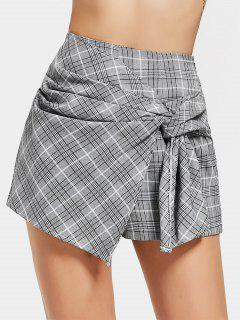 Bow Tied Checked High Waisted Skorts - Checked M