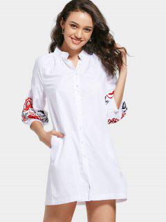 Embroidered Button Down Tunic Shirt Dress - White L
