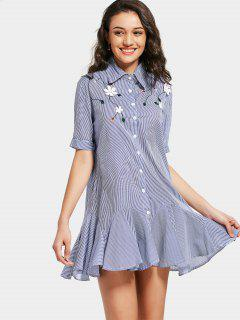 Flounces Stripes Floral Applique Mini Dress - Stripe