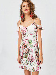 Floral Cami Kalt Schulter Rüschen Kleid - Blumen S