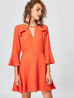 Cut Out Ruffles Keyhole Skater Dress - Orange M