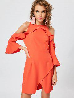 Cold Shoulder Ruffles Slit Dress - Orange Red Xl