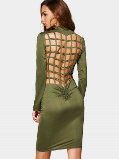 Ruched Back Cut Out Club Bodycon Dress - Army Green M