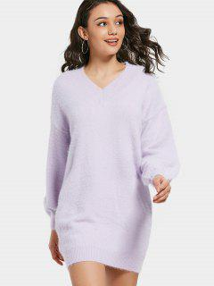 V Neck Lantern Sleeve Sweater Dress - Light Purple Xl