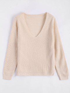 Plunging Neck Plain Sweater - Beige