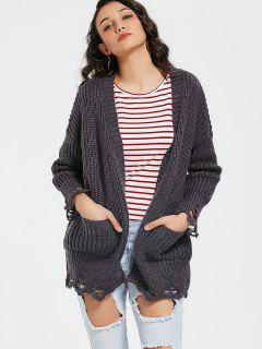 Open Front Ripped Cardigan With Pockets - Deep Gray