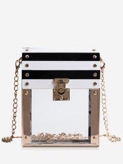 Chain Striped Pattern Box Shaped Crossbody Bag - Transparent