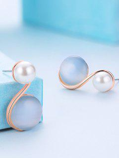 Faux Pearl Embellished S Shape Stud Earrings - Blue