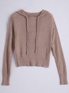 Pullover Drawstring Hooded Knitwear - Light Brown M