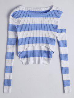 Asymmetrical Cut Out Striped Knitwear - Blue