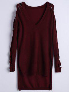 Criss Cross Sleeve High Low Knitwear - Wine Red S