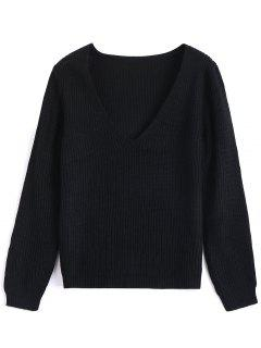 Plunging Neck Plain Sweater - Black