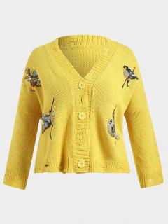 Chunky Distressed Embroidered Plus Size Cardigan - Yellow