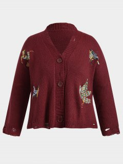 Chunky Distressed Embroidered Plus Size Cardigan - Red
