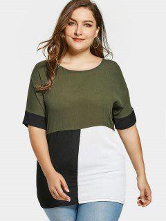 Plus Size Color Block Blouse - Army Green 3xl