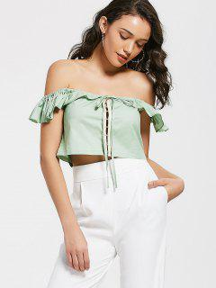 Ruffles Cropped Off Shoulder Top - Pea Green M