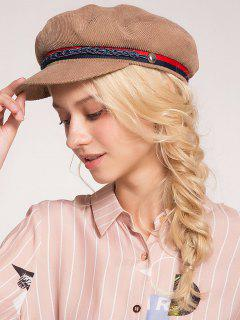 Woven Rope Embellished Pinstriped Beret Hat - Khaki