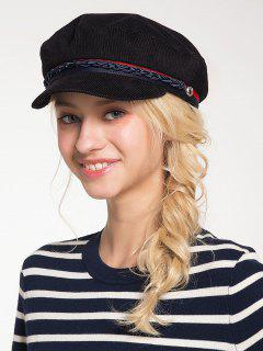 Woven Rope Embellished Pinstriped Beret Hat - Black