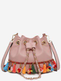 Tassels Pom Pom Drawstring Bucket Bag - Pink