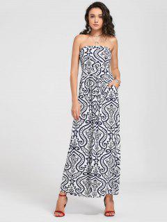 Strapless Paisley Print Maxi Dress - White Xl